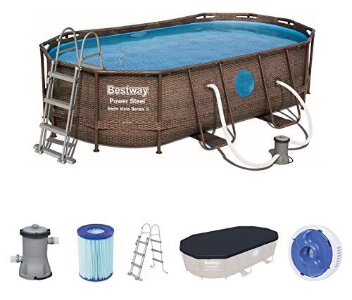 Bestway Power Steel Swim Vista 424x250x100 cm, Frame Pool oval...