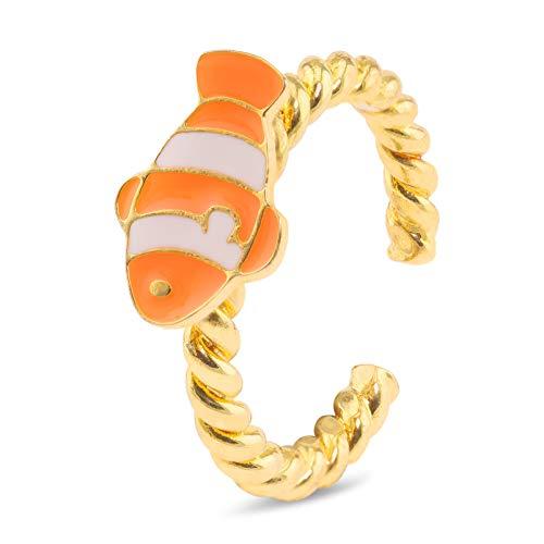 Monkimau Mädchen Ring Clown Fisch aus Messing Gold plattiert mit...