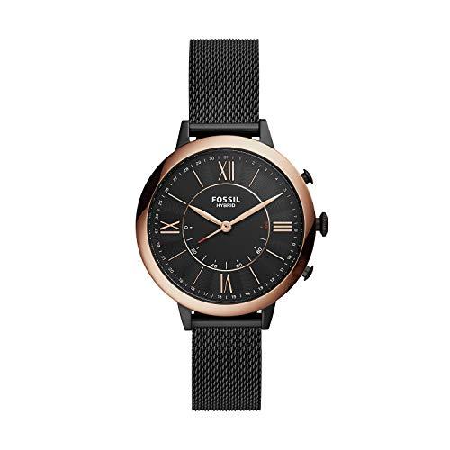Fossil Damen Hybrid Smartwatch Jacqueline Milanaise Schwarz