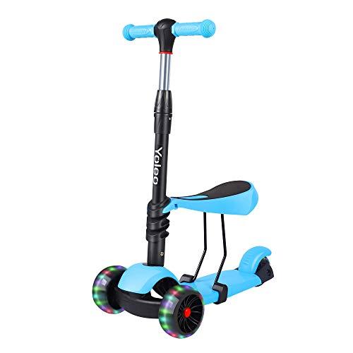 YOLEO 3-in-1 Kinder Roller Scooter mit Abnehmbarem Sitz, LED...