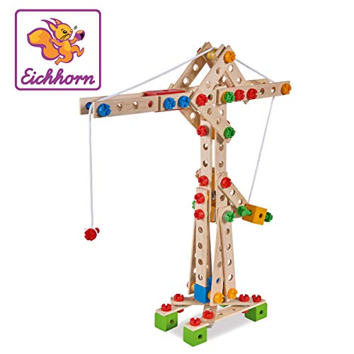 Eichhorn 100039047 - Kran 170-teilig Holz-Konstruktions-Set, 5...
