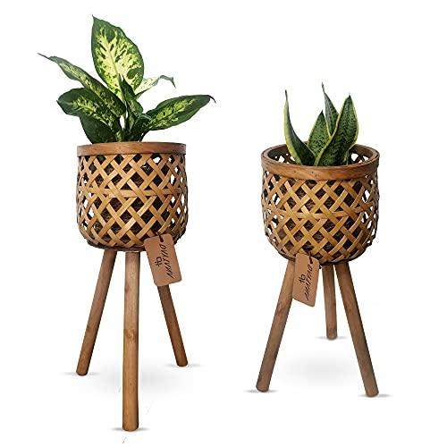 Daytana Bambus Pflanzenständer mit Holz-Beinen im 2er Set  ...