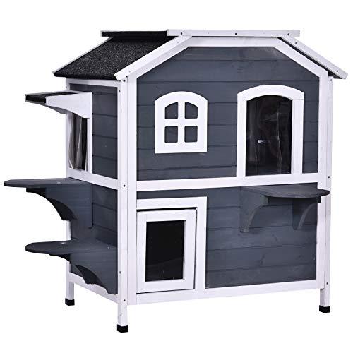 Pawhut Katzenhaus mit Asphaltdach, Outdoor Katzenhütte mit...