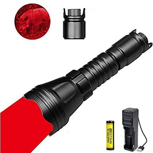 LUXJUMPER Rotlicht-Taschenlampe, 1000 Lumen Dimmbares rotes...