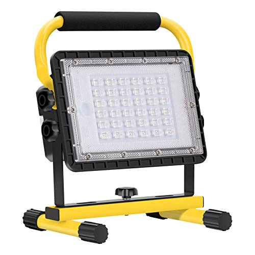 Baustrahler LED Akku, 60W 6000 Lumen LED Arbeitsleuchte Akku...