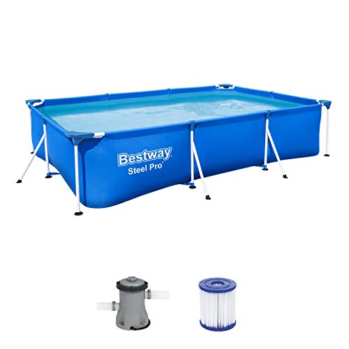 Bestway Steel Pro Frame Pool Set, viereckig 300x201x66 cm...