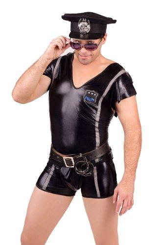 Schwarzes Männer Polizei Kostüm erotisches Wetlook Polizisten...