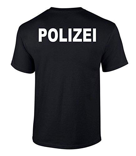 T-Shirt Polizei Druck Farben beidseitiger Druck Schwarz M