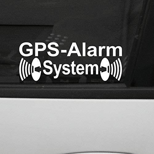 GreenIT 2 Stück weiß GPS Alarm System Aufkleber die Cut Auto...