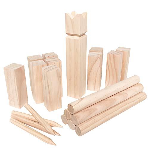 WELLGRO Kubb Spiel 22-TLG. - für 2-12 Spieler, massiv Holz,...