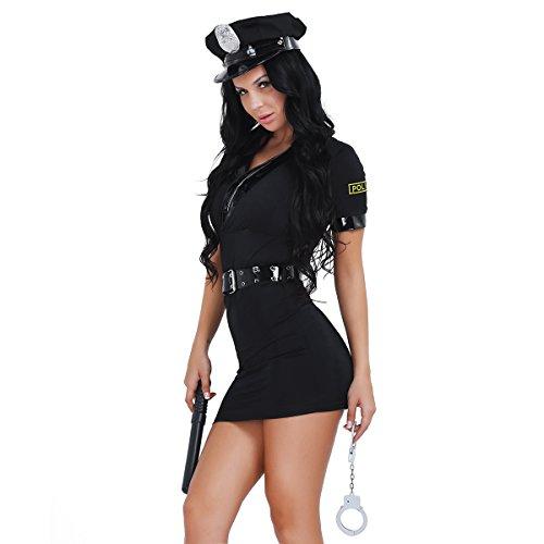 Alvivi Damen Polizeikostüm Cosplay Polizistin Kostüm Frauen...