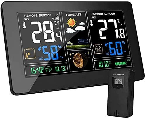 Wetterstation mit Außensensor Funk EU Adapter Weather Station...