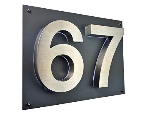 Lukadria LED Hausnummer 3D Edelstahl V2A Hausnummerschild Arial...