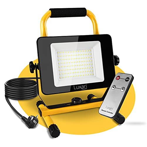 Luxari LED Baustrahler [60W & 5400LM] - Dimmbare Baulampe IP65...