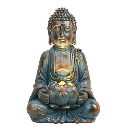 TERESA'S COLLECTIONS Buddha Figur Garten Solarleuchte Klein 32cm...