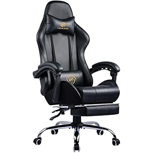 LUCKRACER Gaming Stuhl Massage mit Fußstütze Bürostuhl Massage...