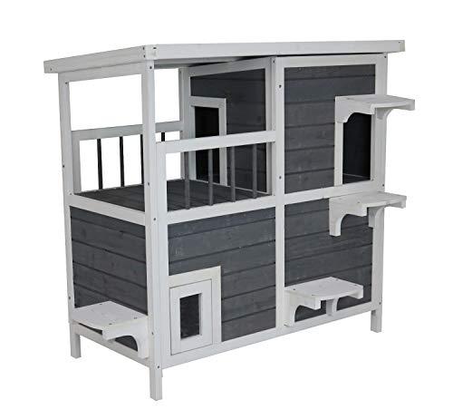 SAUERLAND Großes Katzenhaus mit 2 Etagen, Holz grau-weiß, 87 x...