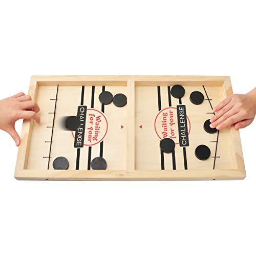 CS COSDDI Schnelles Sling-Puck-Spiel, Holz-Sling-Puck-Brettspiel...