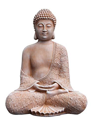 Tiefes Kunsthandwerk Stein-Figur Buddha sitzend in Terrakotta,...