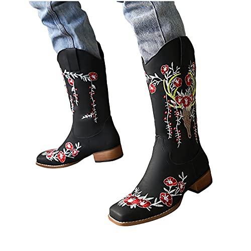 LLDG Damen Cowboystiefel Westernstiefel für Damen,Halbhohe...