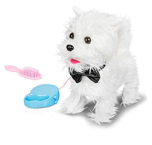 Animigos 37178 Walking Westie, süßer weißer Plüschhund, ca....