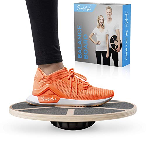 SportyAnis® Premium Balance-Board Holz inkl. Übungsbuch und optional Unterlegmatte,...