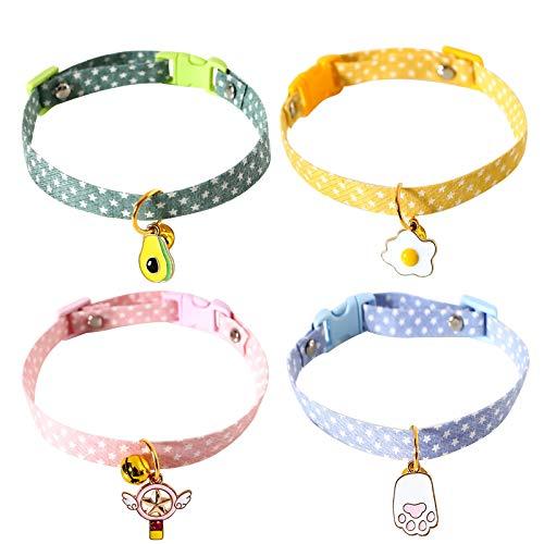 4 Stück Katzenhalsbänder Verstellbares Kätzchenhalsband...