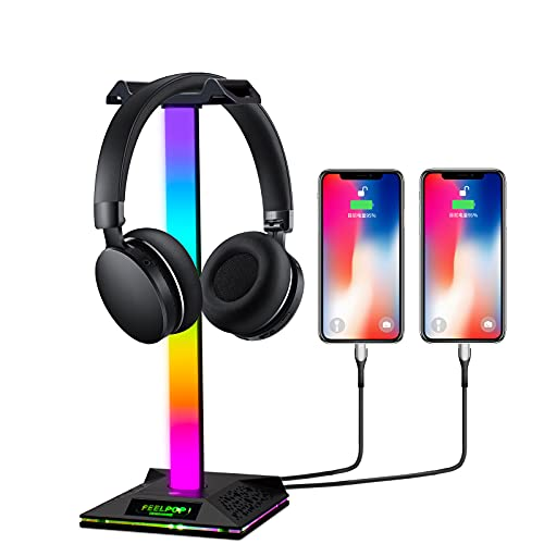 Headset Halterung Gaming Kopfhörer Halter - LED RGB Headphone...