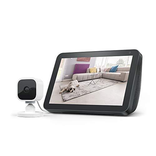 Echo Show 8, Anthrazit Stoff + Blink Mini Kamera, funktioniert...