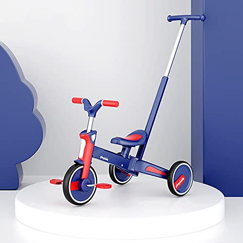 Dreirad 5 in1 Kinderdreirad mit Schubstange Lenksystem Stange ab...