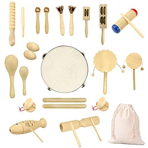 Ulifeme Holz Musikinstrumente Set, 27 Stück Instrumente für...
