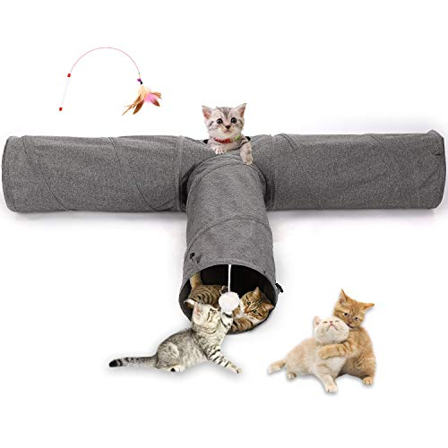 Ownpets Cats Tunnel, Large Cats Cube 3-Wege-Tunnel für Haustiere...
