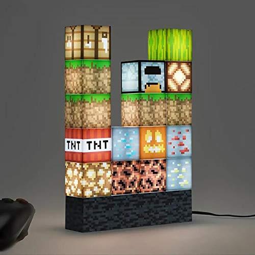 ATATMOUNT Pixel quadratische Mosaik-Tischlampe, kreative...