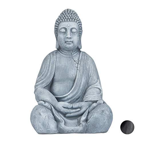 Relaxdays XL Buddha Figur sitzend, 50 cm hoch, Feng Shui,...