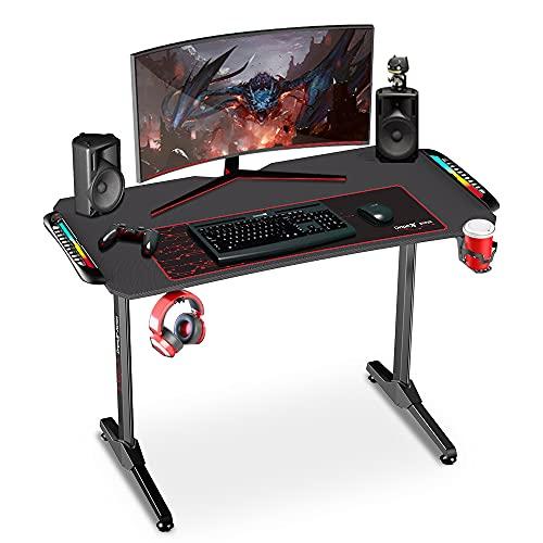 Dripex Gaming Tisch mit LED, ergonomischer Schreibtisch mit...
