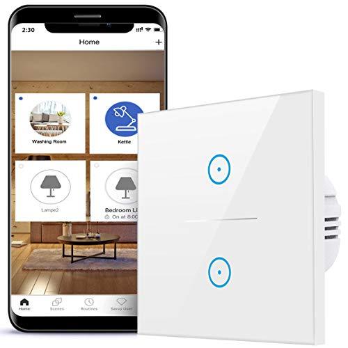 Smart Lichtschalter, 2-Weg Wifi Schalter, 2,4 GHz, kompatibel mit...