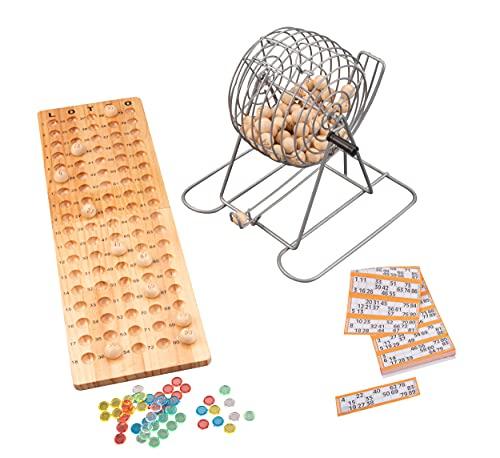 Engelhart - Bingo-Spiel mit Metallkorb + Holzbrett 90 Kugeln /...