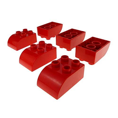 LEGO 6 x Duplo Basic Dach BAU Stein 2 x 3 rot Oben schräg...