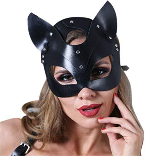 Weesey Katzenmaske Frauen Sexy Leder Katze Kopf Maske Halloween...
