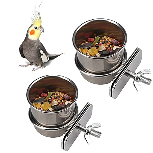 Edelstahl Papageien Fütterungsbecher 2 Stücke Wasser Futternapf...