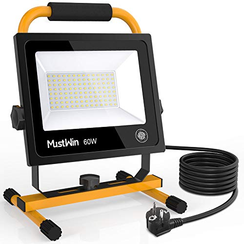 MustWin LED Baustrahler 60W Arbeitsleuchte 6000LM...