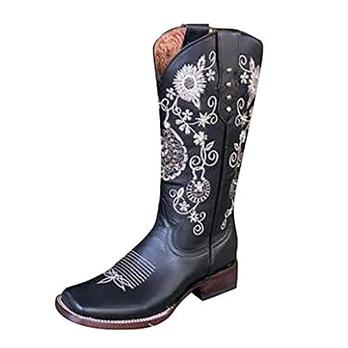 LLDG Damen Western Cowboystiefel Retro Reiterstiefel mit...