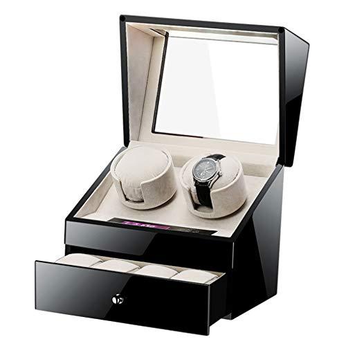 CHYOOO Uhrenbox Watchwell Uhrenbeweger mit Schublade Klavier Holz...