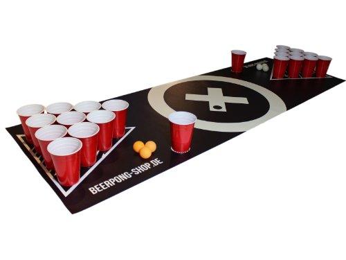 Beer Pong Tisch Matten Set Audio Table Design inkl. 70 Red Cups,...