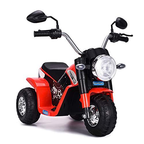COSTWAY 6V Elektro Motorrad mit Scheinwerfer und Hupe, Dreirad...