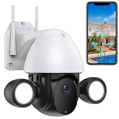 WLAN IP Kamera mit Flutlicht PTZ Überwachungskamera Aussen HD...