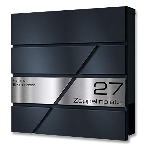 Metzler Briefkasten in Anthrazit Zeppelin - V2A Edelstahl...