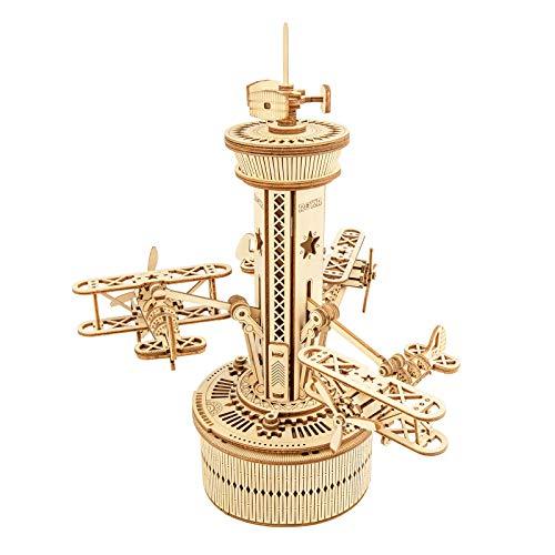 Robotime Mechanische 3D Puzzle Spieluhr Flugkontrollturm mit Flugzeug Modellbausatz aus Holz...