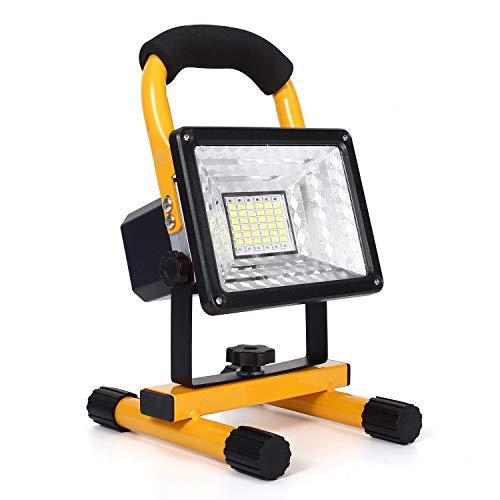 30W LED Baustrahler Akku, 48 LED tragbares Flutlicht mit...