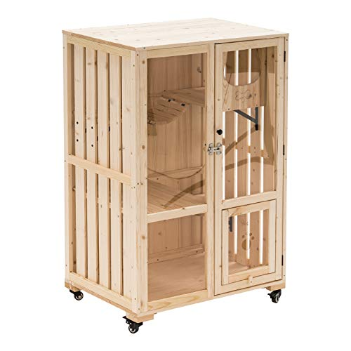 Lovupet Katzenhaus Mobile Katzenhütte aus unbehandeltem Holz...